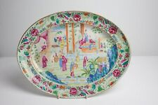 Antique Chinese 19th Century Canton Famille Rose Porcelain Oval Platter Dish