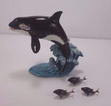 Bijorca Orca Whale Crystal and Jeweled Trinket Box Micro Miniature Glass Calves