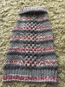 "*British Bulldog Knitted Grey/Pink Multi Aran Jumper/Coat Chest 26-29""Length 17"""