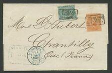VIA DI MARE-Sovracoperta per Chantilly-24 GEN 1886-Annullo con bollo in cartella