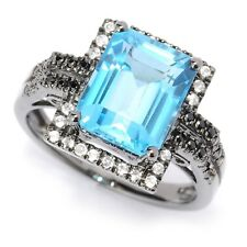 Black Rhodium o/ Silver 4.75ctw Swiss Blue Topaz Solitaire w/ accent Ring Size 7