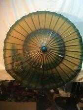 Vintage China  Hand Painted Rice Paper Bamboo parasol umbrella Geisha