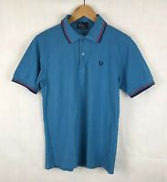 Fred Perry M1200 Blue Twin Tipped Pique Polo - S - Ska Mod Scooter Workwear