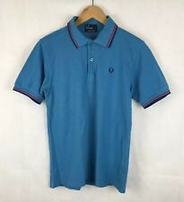Fred Perry M1200 Blue Twin Tipped Pique Polo Shirt Top - S - Ska Mod Scooter