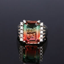 Tourmaline Princess Wedding Mens Ring 10 Fashion 925 Silver Bi Color Watermelon