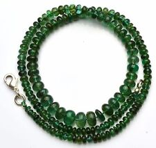 """NATURAL GEMSTONE ZAMBIA EMERALD SMOOTH 4 TO 8MM RONDELLE BEADS NECKLACE 18.5"""""""