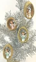 Vintage Christmas Ornaments Angel Diorama Gold Foil Ribbon Handmade Lot