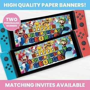 Personalised Super Mario Nintendo Switch Banner - Children Party Banner x 2