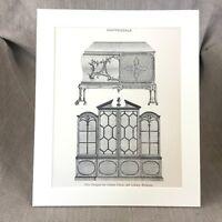 Chippendale Bookcase Antique Print Furniture Design Art Clothes Chest