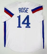 Pete Rose Autographed Montreal Expos White Jersey w/ 4256- Beckett Auth *Black