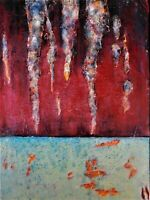 Original abstract oil and mixed media painting by Nalan Laluk: In the Cave