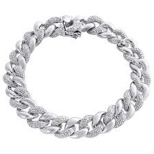 "Miami Cuban Diamond Bracelet Mens .925 Sterling Silver 8"" Pave Round Cut 3 Ct"