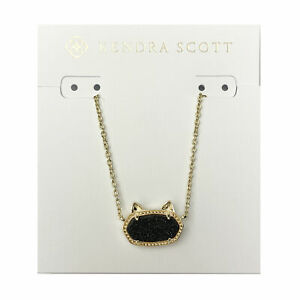 Kendra Scott Elisa Cat Oval Pendant Necklace in Black Drusy and Gold