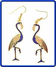 Elegant Blue Cloisonne Enamel Flamingo Earrings 1970s Vintage
