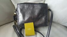 Fossil Campbell crossbody silver pewter metallic leather bag