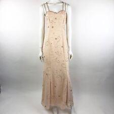 Fleur De Lis Womens 8/10 Evening Gown Beige Floral Sequined Spaghetti Strap