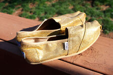 TOMS Gold Sparkle Glitter Fabric Flats Slip On Shoes Womens US W7 FABULOUS FIND!
