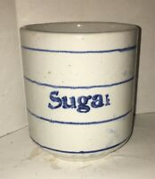 "Antique Blue & White Stoneware ""Sugar"" Canister Stenciled Design Pottery Crock"