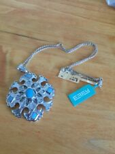 EFFY Silver Diamond And Turquoise Large Pendant Necklace With Chain New NWT