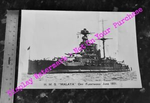 H.M.S. MALAYA OFF FLEETWOOD JUNE 1931 - PHOTO