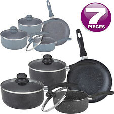 7PC MARBLE COATED ALUMINIUM NON STICK COOKWARE SET FRYING PAN SAUCEPAN GLASS LID