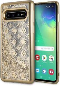Original Guess Liquid Glitter Case Samsung Galaxy S10 Cover Case Gold RETAIL BOX