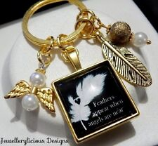 Beautiful Gold FEATHERS APPEAR WHEN ANGELS ARE NEAR Angel Feather Charm Keyring