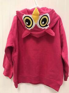 Girl 3T 4T Toddler Pink OWL eyes Buck Wear embroidered Sweatshirt Hoodie NEW