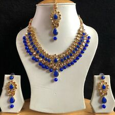 BLUE GOLD INDIAN KUNDAN COSTUME JEWELLERY NECKLACE EARRINGS CRYSTAL SET NEW 047