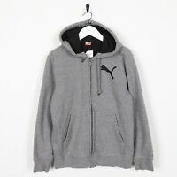 Vintage PUMA Small Logo Zip Up Hoodie Sweatshirt Grey | Small S