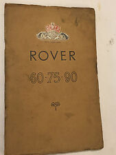 ROVER 60 75 & 90 SALOON OWNERS MAINTENANCE INSTRUCTION MANUAL 1953