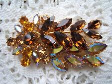 Beautiful Vintage Amber Aurora Borealis Rhinestone Pin Signed Austria