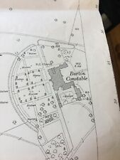 1927 Map Burton Constable West Newton  Vintage Mancave Office Drains Holderness