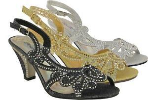 Ladies New Diamante Block Heel Strappy Buckle Gladiator Smart Wedding Sandal UK