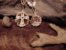 CROSS carved antler necklace Christian crucifix deer antlers crosses three