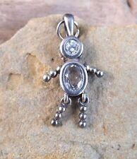 Vintage Birthstone Baby April Boy White Stone Sterling Silver Pendant Charm #115