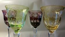 Set of Four Czech Bohemian Engraved Wine Glasses Assorted Colors Leaves, Vines &