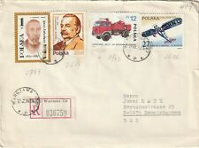 1985 Poland registered cover sent from Warsaw to Emmelshausen Germany