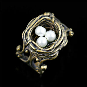 Retro Gold Wedding Rings Women Jewelry Imitation Pearl For Party Rings Sz 6-10