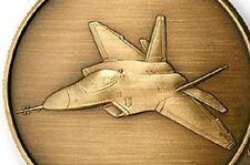Skunk Works Lockheed Martin F 22 Raptor airplane antiqued bronze challenge coin