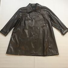 43912fea4a6 Excelled Collection Brown Faux Leather Button Up Jacket Women s Plus Size  3XL