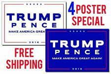 TRUMP PENCE 2016_4 Poster Set MAKE AMERICA GREAT AGAIN_Free Next Day Shipping !!