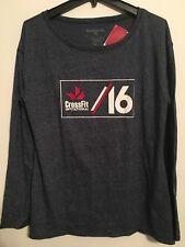 Reebok Men's Round Neck Long Sleeve Heather Navy T-shirt Cross Fit Logo Size XL