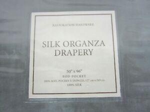 NEW Restoration Hardware Silk Organza Drapery 50x96 Rod Pocket Gray NIP