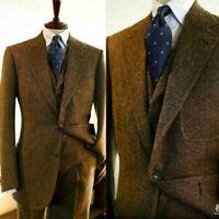 Wool Herringbone Men Suits Slim Fit Wedding Groom Notch Lapel Blazer Business