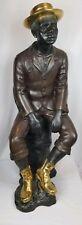 "Huge 40"" Seated African American Black Man Bronze Statue"