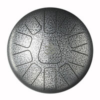 Design 11 Note Steel Tongue Drum Hand Tank Drum Handpan Percussion10 inch Silver