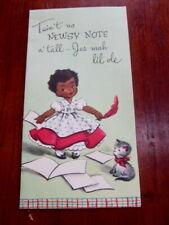 Vtg 1950s black memorabilia birthday card, woman newsy note Messenger unused