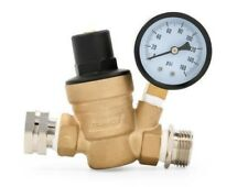 Adjustable Brass Water Pressure Regulator Reducer w/ Gauge RV Camper Camco 40058