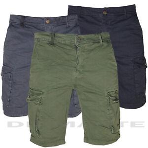 Bermuda Uomo Cargo pantaloni con tasche laterali Multitasche nuovo 156